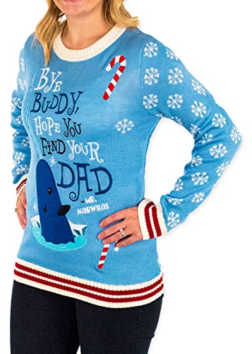 Festified Womens Elf Holiday Narwhal Ugly Christmas Sweater In Blue