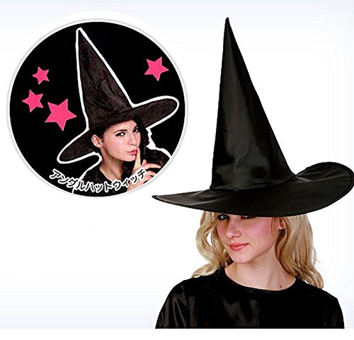 CC Fashion 1Pcs Adult Womens Black Witch Hat For Halloween Costume Party Accessory