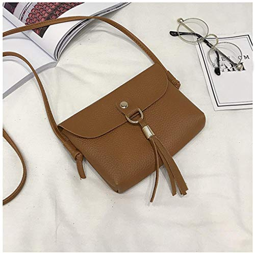 BROWN Shoulder Woman's Handbag Vintage Mini Bafaretk Bag Tassel Small with Fashion Messenger Bags BxI177