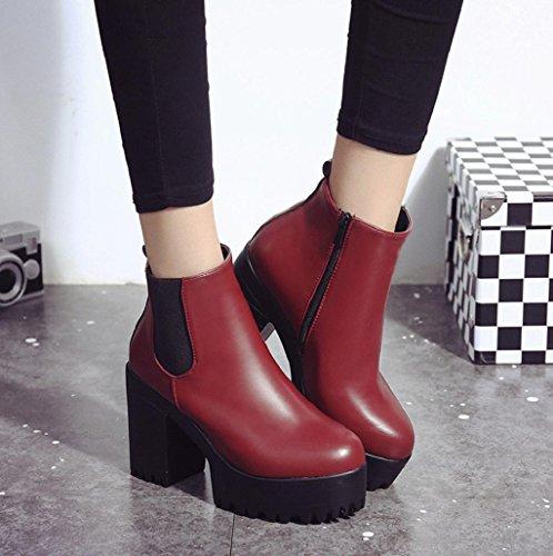 Zapatos para mujer Sannysis Botas de martin Tacón cuadrado Rojo