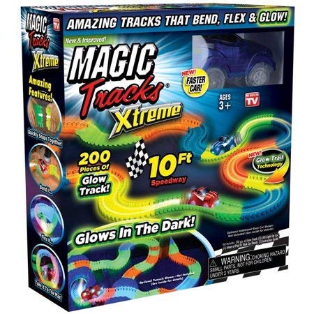 - Ontel Magic Tracks Xtreme with Race Car & 10' of Flexible, Bendable Glow In The Dark Racetrack, As seen On Tv