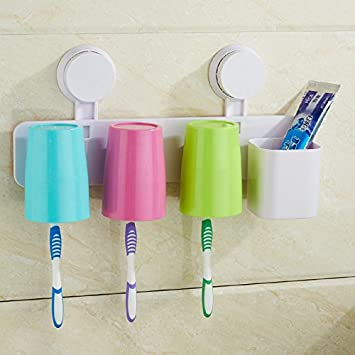Juego de taza y de pared cepillo de dientes titular Set Ideas de tres lavado cepillo taza vaso para cepillos de dientes: Amazon.es: Hogar
