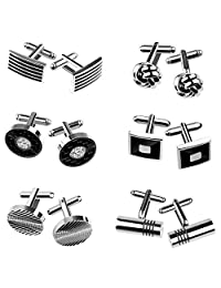 KUUQA 6 Pairs Cufflinks for Men, Fashionable Striped Cuff Links for Tuxedo Shirt Wedding Business Graduation Gift Silver
