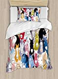 Ambesonne Abstract Duvet Cover Set Twin Size, Pattern with Colorful Cartoon Style Horses Pony Childhood Theme Childish Artwork, Decorative 2 Piece Bedding Set with 1 Pillow Sham, Multicolor
