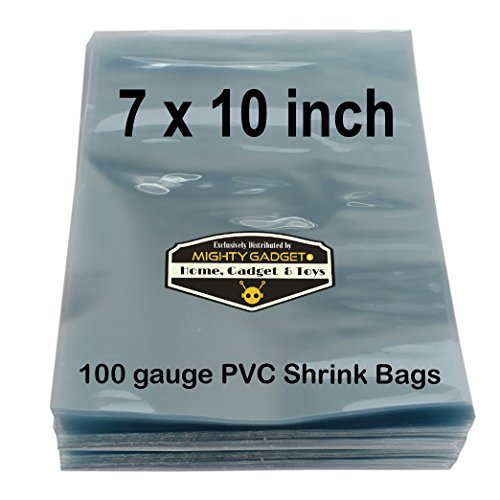 Pvc Shrink Bags (100 pcs Quality 7 x 10 inch PVC Shrink Wrap Bags for Soaps, Bath Bombs, Bottles, Crafts & DIY Products by Mighty Gadget (R) - 100 gauge)