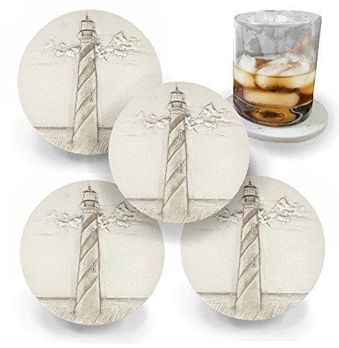 Drink Coasters by McCarter Coasters, Spiral Lighthouse, Absorbent, Light Beige 4.25 inch (4pc)