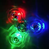 #8: AILI Tri-Spinner Crystal Clear LED Hand Fidget Spinner Toy, with 12 Led Bulbs and 3 Lighting Model Total of 27 Lighting Effects, High-Speed EDC Focus Toy for Kids and Adults