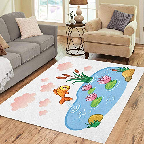 (Pinbeam Area Rug Blue Fish Jumps Into The Pond Lake Home Decor Floor Rug 2' x 3' Carpet)