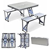 Yaheetech Aluminum Picnic Time Portable Folding Picnic Table with Seating for 4, Silver