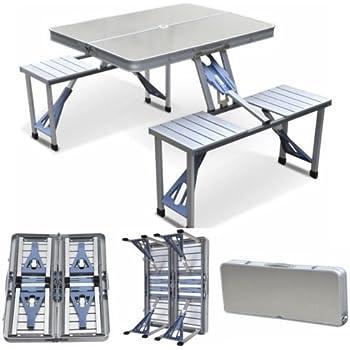 Amazon yaheetech aluminum picnic time portable folding picnic yaheetech aluminum picnic time portable folding picnic table with seating for 4 silver watchthetrailerfo