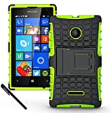 Microsoft Nokia Lumia 435 Case - Tough Rugged Dual Layer Protective Case with Kickstand for Microsoft Nokia Lumia 435 - Green