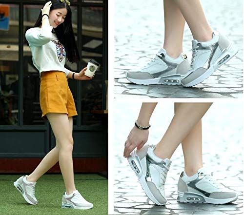 Mujer Casuales Blancas Zapatillas Ejercicio Deporte Caminar Planos Aire Libre Ysfu Practican Al Mujeres De Zapatos Que Para 0nwXqgpT4