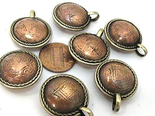 3 Pendants - Bhutan coin design embossed metal pendant - ...