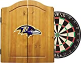 Imperial Officially Licensed NFL Merchandise: Dart Cabinet Set with Steel Tip Bristle Dartboard and Darts, Baltimore Ravens