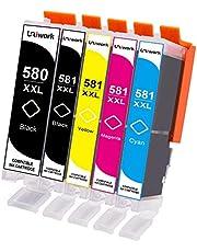 5 Uniwork 580 581 XXL Kompatibel Patronen für Canon 580XXL PGI-580 CLI-581 XXL Druckerpatronen für Canon Pixma TR8550 TS6150 TS6250 TS9550 TS6151 TR7550 TS8150 TS8151 TS8152 TS8250 TS9155 Drucker