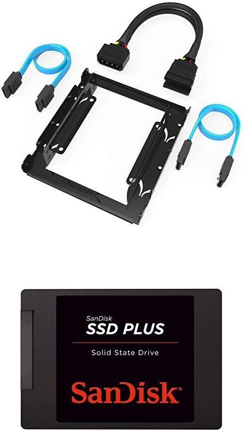 "Sabrent 3.5-Inch to x2 SSD / 2.5-Inch Internal Hard Drive Mounting Kit [SATA and Power Cables Included] (BK-HDCC) + SanDisk SSD PLUS 1TB Internal SSD - SATA III 6 Gb/s, 2.5""/7mm - SDSSDA-1T00-G26"