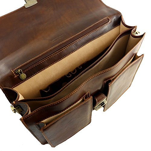 Business Echtleder Aktentasche - 4025 Braun - Echtes Leder Taschen - Mega Tuscany