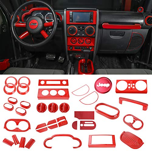 RT-TCZ Full Set Interior Decoration Trim Kit,Trim For Jeep Wrangler 2007-2010 (Red 36PCS)
