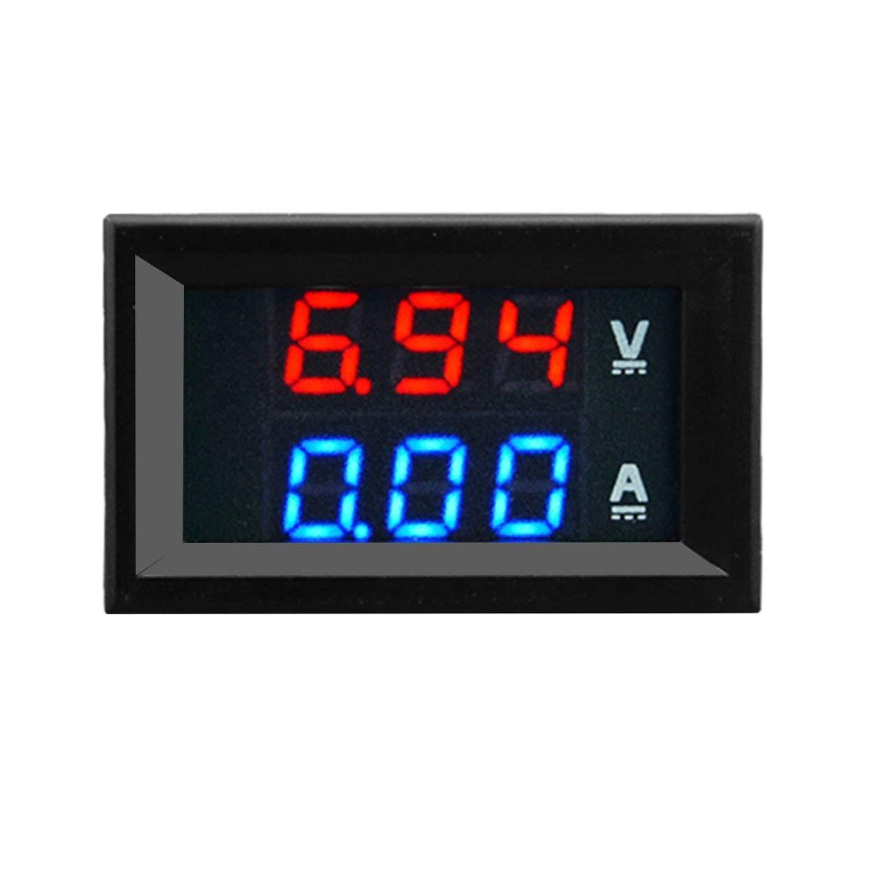 Voltmeter,100V 10A DC Digital Voltmeter Ammeter Blue Red Dual Color Display LED Amp Dual Digital Volt Meter Gauge 2 in1 Multimeter