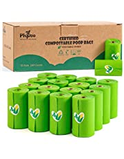Compostable Poop Bags Certified, 240 Plant-Based Poop Bags for Dogs, Unscented Doggie Waste Bags - Vegetable-Based Extra Thick with 100% Leak-Proof