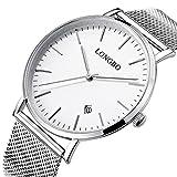 Fanmis Mens Luxury Wristwatch Silver Mesh Stainless Steel Ultra-Thin White Dial Waterproof Calendar Quartz Watch