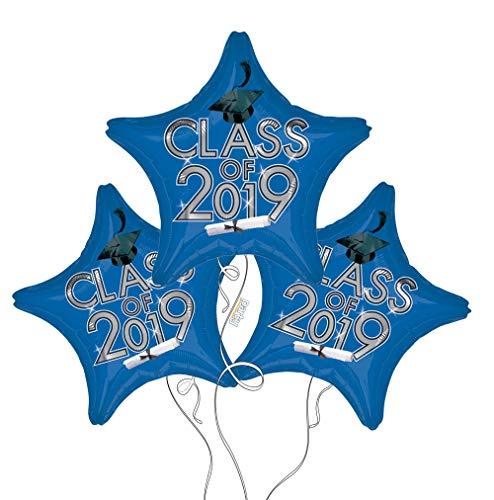 Graduation Cap Class of 2019 Star Mylar Balloons in Blue - 3 -