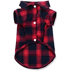 Dog Shirt,Quno Pet Plaid Polo Clothes Shirt T-Shirt, Sweater Bottoming Shirt ,Cat Puppy Grid Adorable Wearing Stylish Cozy Halloween,Christmas Costumes {Red;XS/Extra Small}