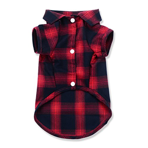 Dog Shirt,Koneseve Pet Plaid Polo Clothes Shirt T-Shirt, Sweater Bottoming Shirt ,Cat Puppy Grid Adorable Wearing Stylish Cozy Halloween,Christmas Costumes {Red;L/Large} ()