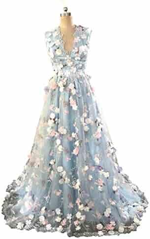 9fc0a1dcf3e Banfvting 3D Flowers Long Evening Gown Sleeveless A-Line Prom Dress