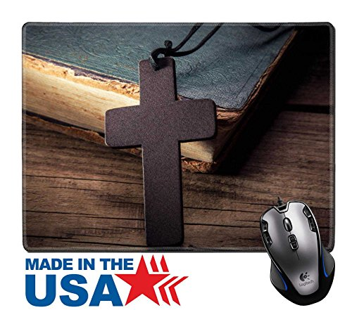 """MSD Natural Rubber Mouse Pad/Mat with Stitched Edges 9.8"""" x 7.9"""" Closeup of wooden Christian cross on bible IMAGE 35686405"""