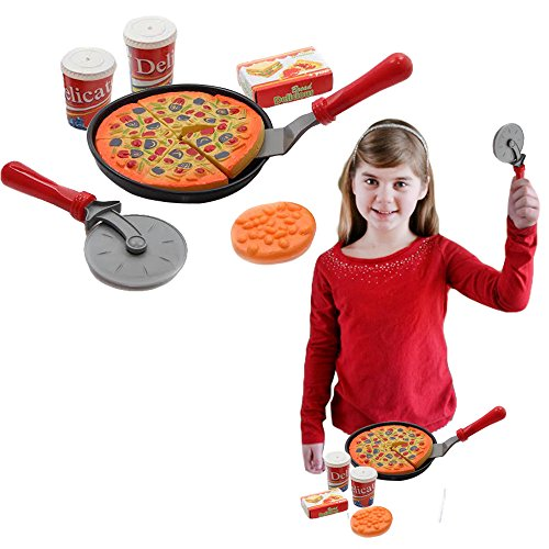 Toddler Costumes Pizza (Toy Cubby Kids Toddler Pretend Play Pizza Party Cutting Food and Accessories)
