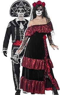 couples ladies u0026 mens day of the dead full length skeleton sugar skull halloween fancy dress