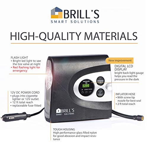 BRILL'S 12V DC Portable Tire Inflator Pump, 150 Psi Electric Air Compressor for Cars, Bikes, Motorcycles and Balls. Carry Case and USB Car Charge Included by BRILL'S SMART SOLUTIONS (Image #5)
