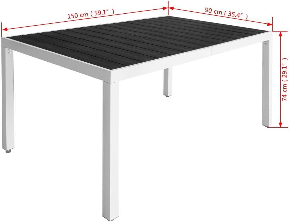 vidaXL Set Comedor de Jard/ín 7 Piezas 79x79x74 Negro Mobiliario Mueble Terraza