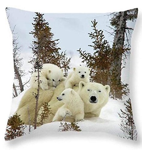 (X-Large Cotton Linen 3D Polar Bear Family Throw Pillow covers Case Cushion Cover Sofa Decorative Square 18 inch X 18 inch)