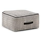 Simpli Home Shea Square Pouf, Patterned Black and Natural