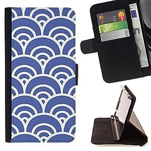 Blue Waves Artístico Wallpaper Vintage- Modelo colorido cuero de la carpeta del tirón del caso cubierta piel Holster Funda protecció Para Samsung Galaxy S6 EDGE (NOT S6)