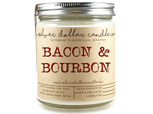 8oz Bacon & Bourbon Man Candle Hand poured 100% Soy Wax Scented Candle by Silver Dollar Candle Co. - Maple, Gifts for Men by Silver Dollar Candle Co.