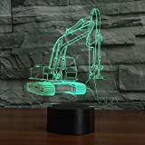 Excavator Shape 3D Lamp Optical Illusions Night