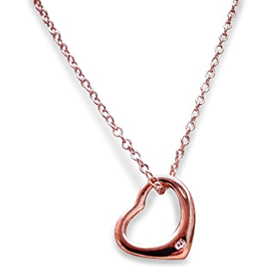 925 Stamped Sterling Silver Plate Floating Heart Pendant Necklace in Gift Box FD9EsI