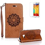 For Samsung Galaxy A5 (2017 Model) Case [with Free Screen Protector], Funyye Classic Premium Folio PU Leather Wallet Magnetic Flip Cover and [Credit Card Holder Slots] Mandala Flower Patterns Design Protective Case Cover for Samsung Galaxy A5 (2017 Model) -Brown