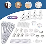 [UPGRADED]Baby Proofing, TECKCOOL 43 Pcs Cabinet Locks Child Safety ,Magnetic Cabinet Locks Corner Protectors Outlet Plugs No Drill Required Baby Proof Set For Doors, Cabinet, Drawers, Appliances.etc