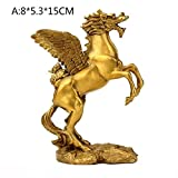 BWLZSP 1PCS Chinese style feng shui brass flying horse home furnishings 12 Chinese zodiac animal horse bronze craft jewelry LU612501 (Color : A)