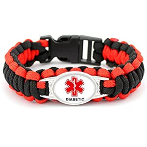 LiFashion LF Outdoor Braided Rope Paracord Survival Diabetic Medical Alert ID Cuff Bracelet Bangle Health Monitoring for Men Women for Hiking Camping Outdoors Activities Emergency