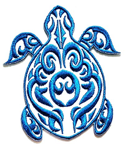 Nipitshop Patches White Blue Turtle sea Animal