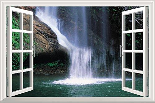 Grand Waterfall Open Window Mural Wall Sticker