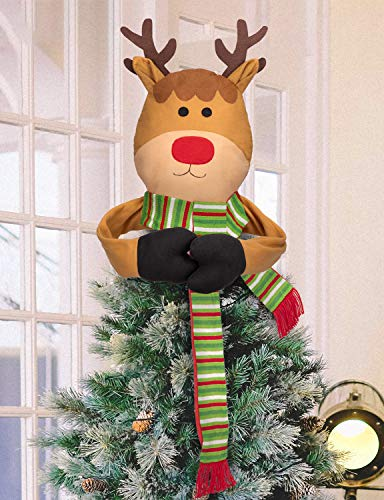 Moon Boat Christmas Tree Topper Reindeer Hugger - Xmas/Holiday/Winter Wonderland Party Decorations Ornaments Supplies ()