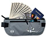 Gearbay6 RFID Blocking Money Belt Gray - Money Belt RFID Blocking Sleeves Security