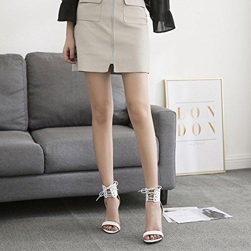 Dames Soirée Cot Out Strappy Sexy Talons Bride Chaussures Pompes White Hauts Stiletto Femmes La Sandales Robe De Toe Cheville Mariage à Peep z4xgW6q
