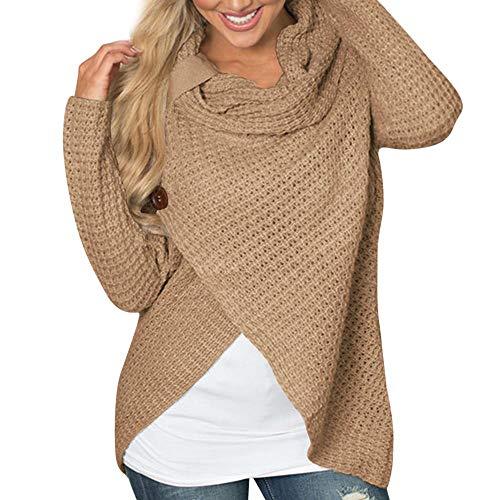 HGWXX7 Women Casual Loose Cowl Neck Long Sleeve Solid Sweatshirt Pullover T-Shirt Blouse Tops(S,Khaki)